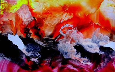 Encaustic Painting - On Fire by Louise Adams