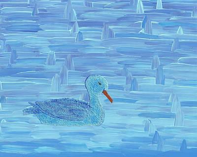 Duck Mixed Media - On His Way IIi by Manuel Sueess