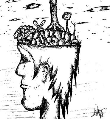 Thought Drawing - On My Mind by Jera Sky