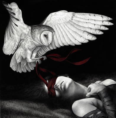 Black And White Painting - On Silent Wings by Pat Erickson