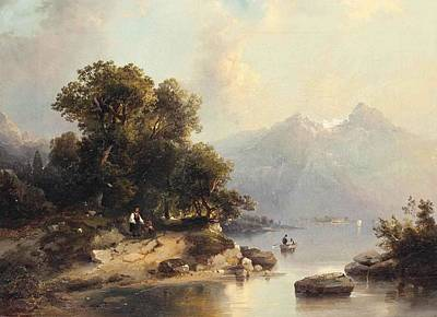 Nature Painting - On The Banks Of A Mountain Lake by Carl Dahl