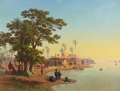 Johann Jakob Frey Painting - On The Banks Of The Nile by Johann Jakob Frey