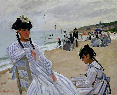 Perspective Painting - On The Beach At Trouville by Claude Monet