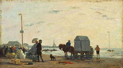 Eugene Boudin Painting - On The Beach At Trouville by Eugene Boudin