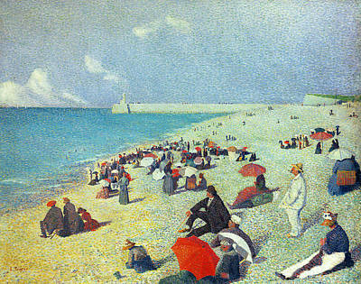 Dot Painting - On The Beach by Leon Pourtau