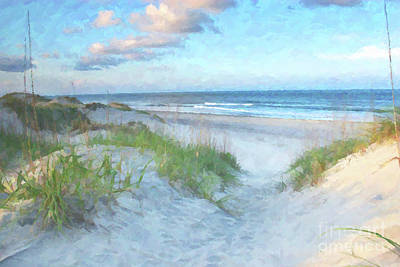 On The Beach Watercolor Print by Randy Steele