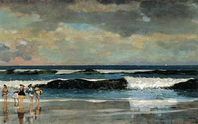 On The Beach Print by Winslow Homer