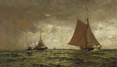 Arthur Quartley Painting - On The High Sea by Arthur Quartley