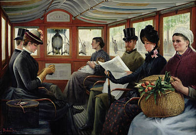 Maurice Painting - On The Omnibus by Maurice Delondre