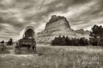 Wagon Train Photograph - On The Oregon Trail # 2 Sepia Tone by Mel Steinhauer