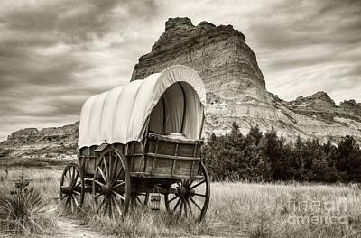 Wagon Train Photograph - On The Oregon Trail Sepia Tone by Mel Steinhauer