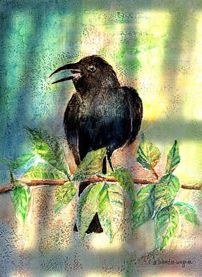 Crow Painting - On The Outside Looking In by Arline Wagner