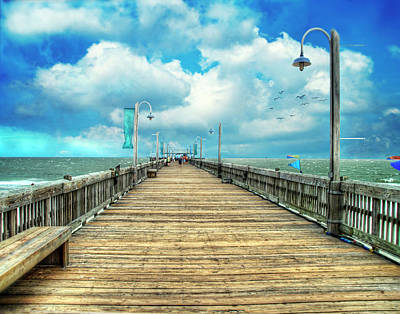 On The Pier At Tybee Print by Tammy Wetzel
