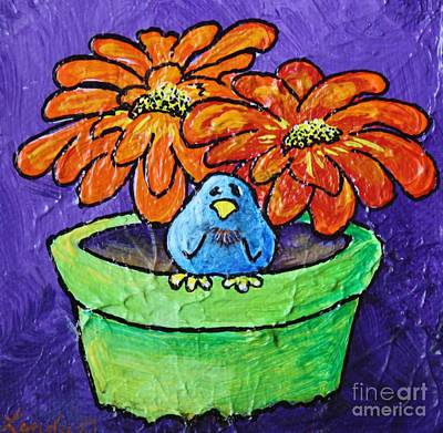Limbbirds Painting - On The Pot by LimbBirds Whimsical Birds