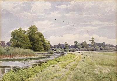 Rural Landscapes Painting - On The River Ouse Hemingford Grey by William Fraser Garden