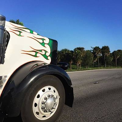 Truck Photograph - On The Road Again On Turnpike by Juan  Silva
