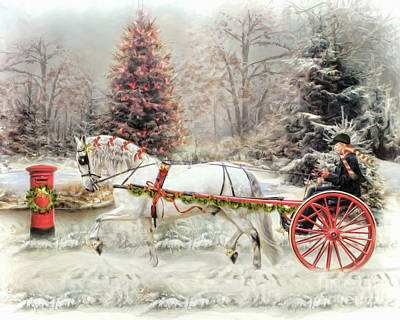 Horse And Cart Digital Art -  On The Road To Christmas by Trudi Simmonds