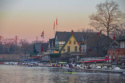 On The Schuylkill River At Boathouse Row Philadelphia Print by Bill Cannon