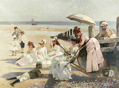 Daughters Painting - On The Shores Of Bognor Regis by Alexander M Rossi