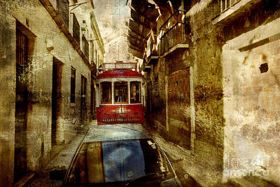 Portuguese Mixed Media - On The Streets Of Lisbon by Dariusz Gudowicz