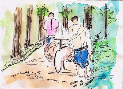 Wash Drawing - On The Village Path by Subhamay Ray
