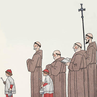 Christianity Drawing - On The Way To Mass by Georges Barbier