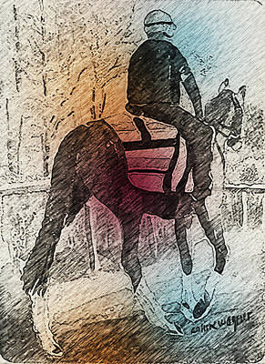 Horse Mixed Media - On The Way To The Workout by Arline Wagner