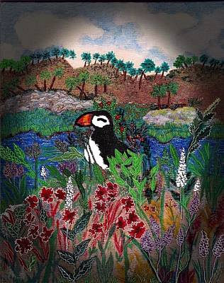 Puffin Mixed Media - On Vacation by Christine Mulgrew