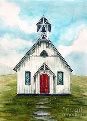 Once Upon A Sunday - Country Church Print by Janine Riley