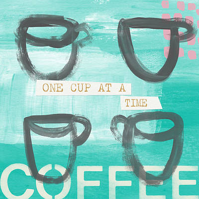 One Cup At A Time In Blue- Art By Linda Woods Print by Linda Woods