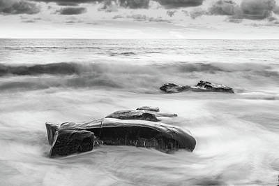 Waterscape Photograph - One Day After The Next Black And White by Scott Campbell