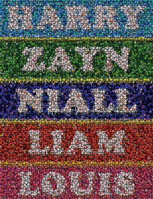 Bottlecaps Drawing - One Direction Names Bottle Cap Mosaic by Paul Van Scott