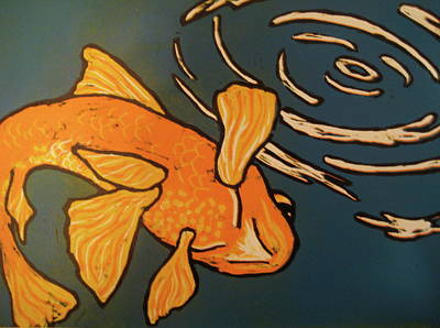 Koi Drawing - One Fish by Emily Jones