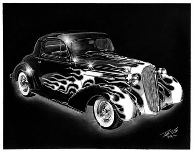 Pencil Drawing - One Hot 1936 Chevrolet Coupe by Peter Piatt