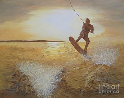 Wakeboarding Painting - One Last Jump by Jennifer  Donald