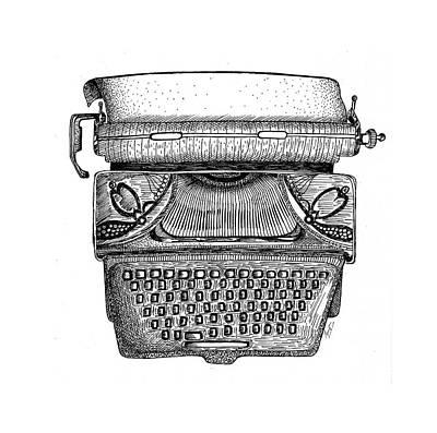 Typewriter Drawing - One Old Underwood by Sreejith V