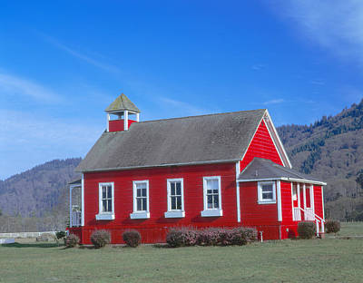 One Room School Photograph - One-room Schoolhouse Along Highway 1 by Panoramic Images