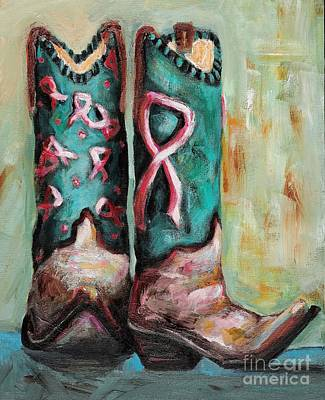 Cowboy Boots Painting - One Size Fits All by Frances Marino
