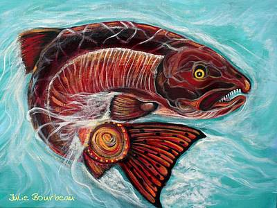 Salmon Painting - One Spirit - Many Journeys by Julie Bourbeau