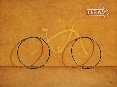 Bikes Painting - One Way by Horacio Cardozo