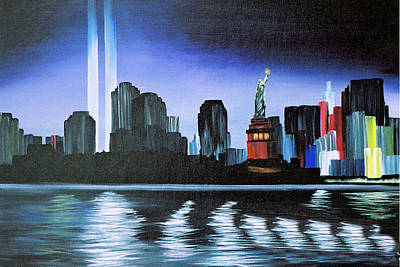 Twin Towers Nyc Painting - One Year Later by T Fischler