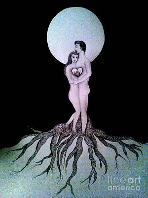 Twin Flame Drawing - Rooted In Oneness  by Wendy Wunstell