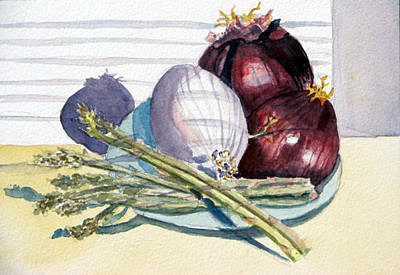 Onions And Asparagus - Miniature Original by Libby  Cagle