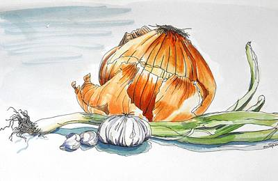 Onion Mixed Media - Onions And Garlic by D K Betts
