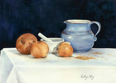 Table Cloth Painting - Onions And Mustard Seeds by Kathy Harker-Fiander