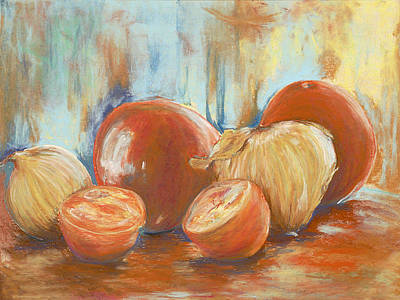 Tomato Drawing - Onions And Tomatoes by AnnaJo Vahle