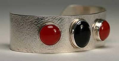 Sterling Silver Bracelet Jewelry - Onyx And Carnelian Bracelet by Eric Cockrell