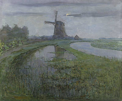 Moonlight Painting - Oostzijdse Mill Along The River Gein By Moonlight  by Piet Mondrian