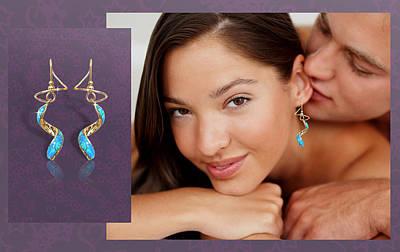 14k Jewelry - Opal Spiral Earspirals by Harry Mason