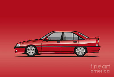 Opel Omega A, Vauxhall Carlton 3000 Gsi 24v Red Print by Monkey Crisis On Mars